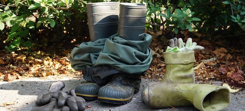 Laarzen en tuinhandschoenen